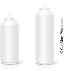 mostarda, garrafa plástico, em branco, branca, ketchup