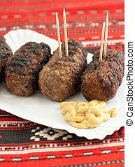 mostaza, mititei, rumano, mici, rollos, carne