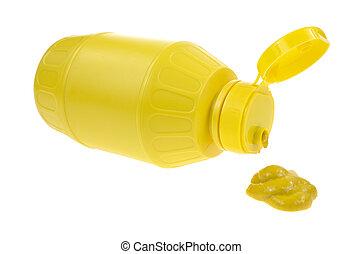 mostaza, se derramar, de, botella