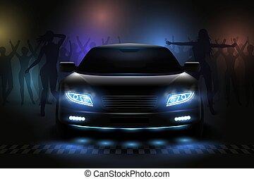 mostra automobile, composizione, luci