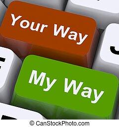 mostra, chiavi, disaccordo, o, modo, mio, tuo, conflitto