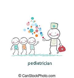 mostra, crianças, milagre, pediatra