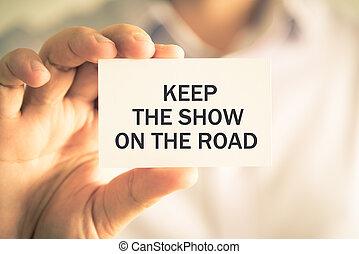 mostra, custodire, strada, presa a terra, uomo affari, messaggio, scheda
