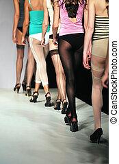 mostra, donna, moda, uderwear