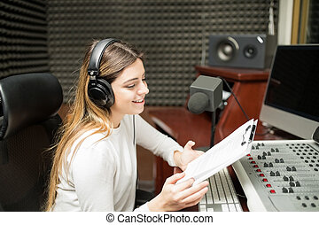 mostra, hosting, presentatore, radio, femmina, discorso