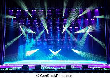 mostra, illuminato, palcoscenico
