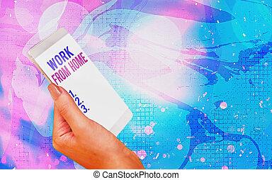 mostra, lavoro, concetto, moderno, scrittura, bokeh, testo, home., comunicare, casa, parola, flexibly, affari, aggeggi, ditta, schermo, mainly, bianco, sotto, colorito, fondo.