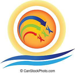 mostra, logotipo, aereo, vettore, squadra