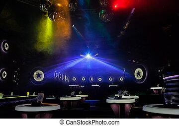 mostra, luce, luci disco, palcoscenico