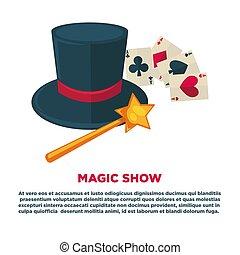 mostra mágica, anúncio, bandeira, com, alto, chapéu, e,...