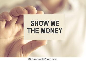 mostra, soldi, presa a terra, uomo affari, messaggio, scheda