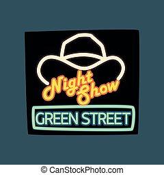 mostra, strada, vendemmia, notte, neon, illustrazione, vettore, verde, retro, cartello, bandiera