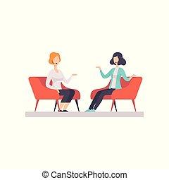 mostra televisione, tv, isolato, illustrazione, due, parlare, vettore, intervista, studio, discorso, donne