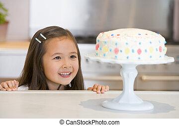 mostrador, el mirar joven, pastel, muchacha que sonríe,...