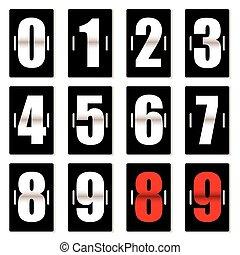 mostrador, negro, número, reloj
