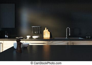 mostrador, negro, vacío, cocina