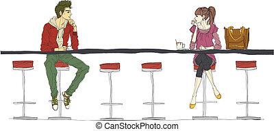 mostrador, pareja, sentado, barra