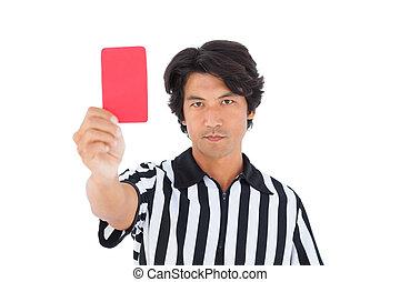 mostrando, árbitro, cartão vermelho, popa