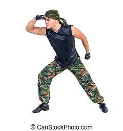mostrando, algum, camuflagem, soldado, dançarino, movimentos