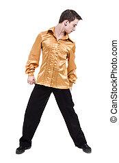 mostrando, algum, isolado, contra, discoteca, dançarino, branca, movimentos