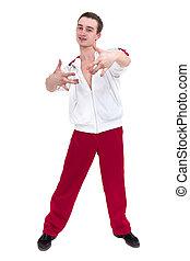mostrando, algum, isolado, contra, discoteca, dançarino, fundo, branca, movimentos