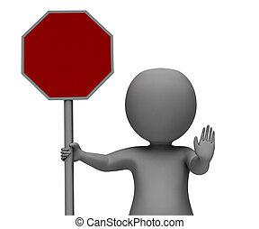 mostrando, aviso, sinal parada, perigo
