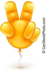 mostrando, balloon, vitória, símbolo, mão