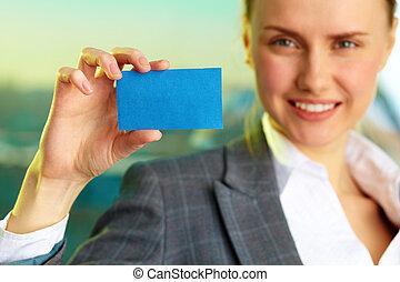 mostrando, cartão, visitando