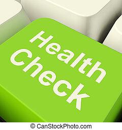 mostrando, cheque, computador, tecla verde, exame, saúde, médico
