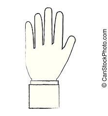 mostrando, cinco, dedos, imagem, mão