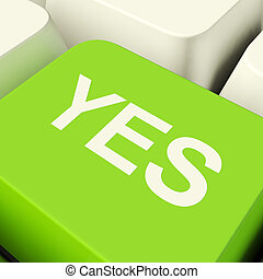 mostrando, computador, tecla verde, aprovação, sim, apoio
