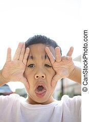 mostrando, crianças, cima, rosto, asiático, fim, dente, leite