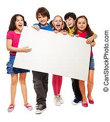 mostrando, crianças, cinco, tábua, em branco
