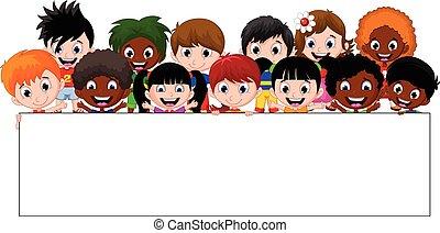 mostrando, crianças, grupo, sorrir feliz