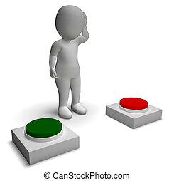 mostrando, empurrar, personagem, indecisão, escolha, botões,...