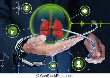mostrando, esperto,  human, pulmões, mão