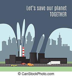 mostrando, fábrica, ilustração, poluído, vetorial, fumaça, conceitual