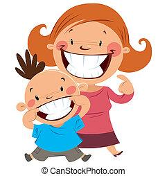 mostrando, filho, seu, mãe, dentes, sorrir feliz