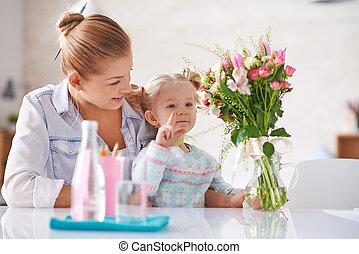 mostrando, flores