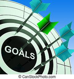 mostrando, futuro, dartboard, planos, metas