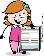 mostrando, ilustração, relatório, vetorial, jornal, senhora, caricatura