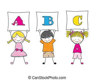 mostrando, letras, crianças