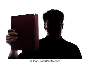 mostrando, livro, silueta, imagine homem