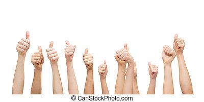 mostrando, mãos cima, polegares