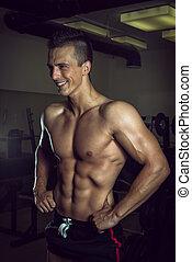 mostrando, músculos,  abdominal, ginásio