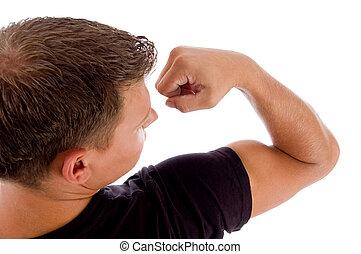 mostrando, músculos, costas, pose, homem