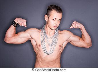 mostrando, músculos,  Muscular, homem