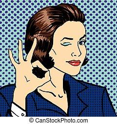 mostrando, mulher, ok, sinal., negócio