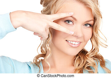mostrando, mulher, polido, pregos, mão