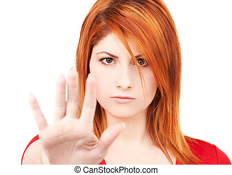 mostrando, mulher, sinal parada